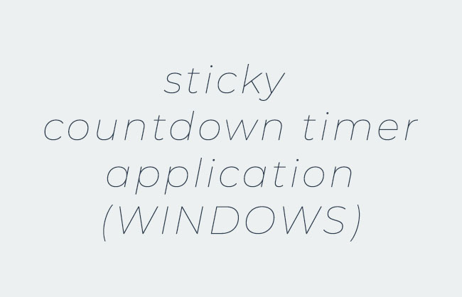Sticky Countdown Timer Application